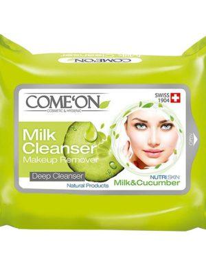 دستمال مرطوب 20 برگ کامان مدل milk cleanser