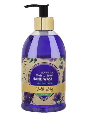مایع دستشویی آنتی باکتریال شفاف سرمه ای شون حاوی رایحه انگور
