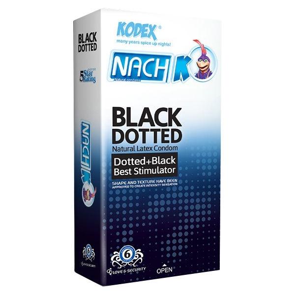 کاندوم خاردار مشکی ناچ کدکس ( BLACK DOTTED NACH KODEX )
